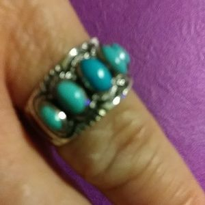 NWT. Sterling Santa Fe Kingman Turquoise Ring sz 8